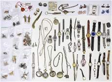Collection of watches, cuff links, dress sets, costume