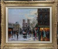 Paris Street Scene with Figure painting