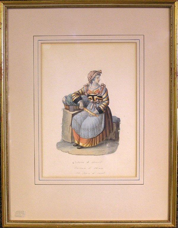 6003: Watercolor, costume, Italian 19th