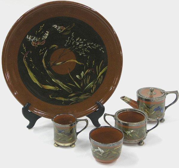 6013: Five piece 19th C tea set