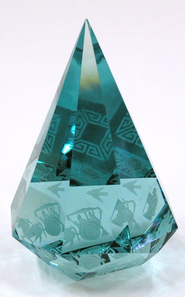 6018: Etched Crystal 9''h prism