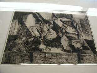 Framed etching, contemporary