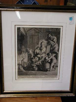 Framed engraving, European