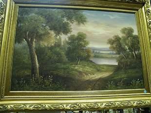 Framed oil, T. Edison