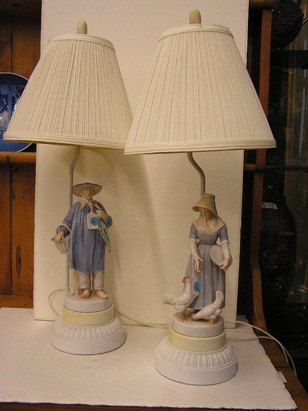 24: Porcelain figural lamps