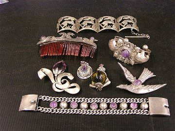 215: Mexican sterling and amethyst jewelry