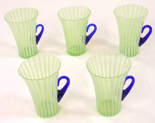 4003: Set of art glass lemonade cups