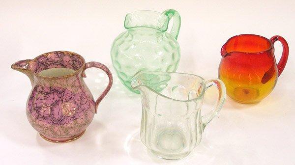 4006: Glass, Porcelain pitchers, Amberina