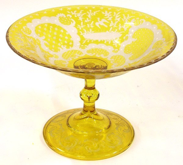 4014: Marigold etched compote