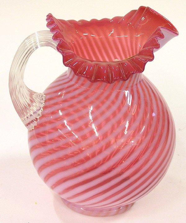 4015: Cranberry swirl pitcher