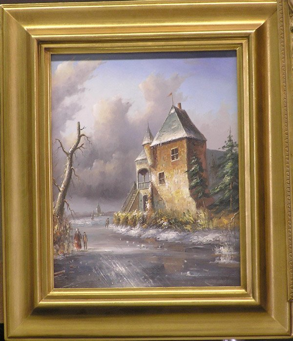 4018: Oil on canvas winter scene