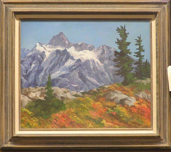 4020: Oil on canvas, mountain landscape