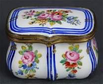 French Sevres porcelain lidded box having bronze
