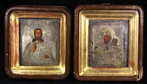 lot of 2 Russian icons 19th Century executed in oil