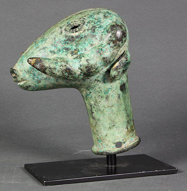 Bronze verdis ram's head finial, Yoruba, Nigeria, 19th