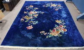 Chinese Royal blue floral carpet 11' x 9'