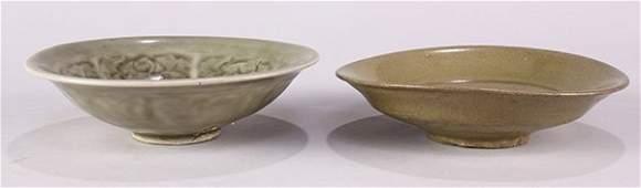 Two Chinese Trade Ware Celadon BowlDish