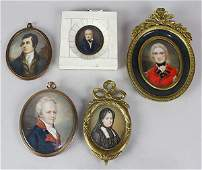lot of 5 Portrait Miniatures 19thearly 20th