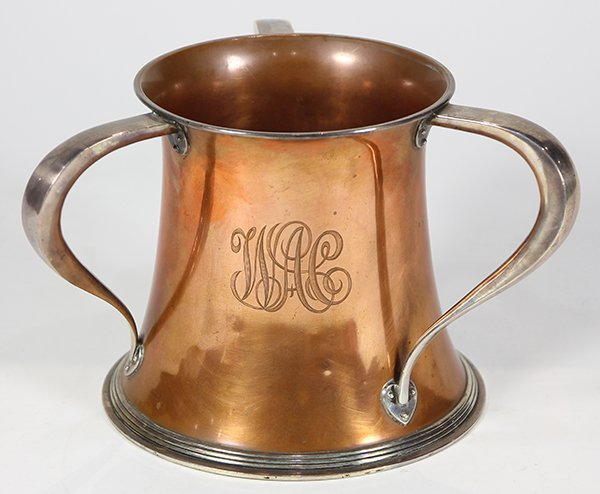 Arts and Crafts sterling and copper loving cup,