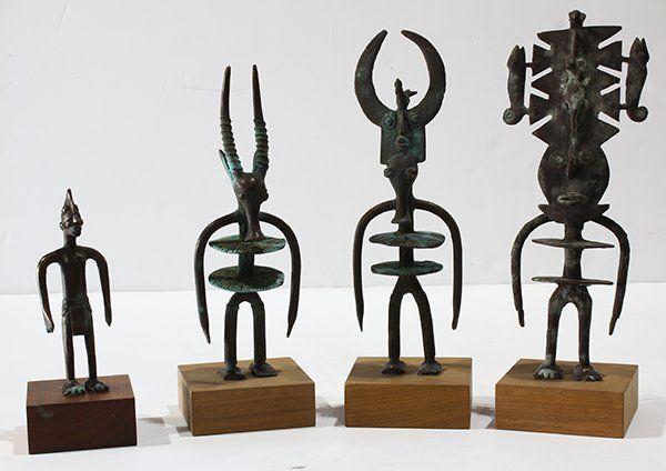 (lot of 4) Dogon and Bamana style, Mali patinated