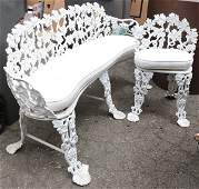 lot of 5 White painted wrought iron patio furniture