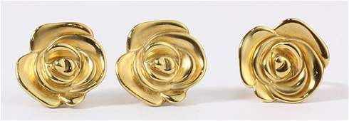 14k yellow gold flower jewelry suite