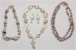 Collection of baroque cultured pearl, multi-stone and