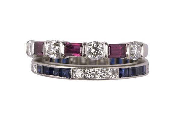 (Lot of 2) Tiffany & Co. diamond, ruby, sapphire and