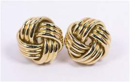 Pair of Tiffany  Co 18k yellow gold knot earrings