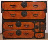 Japanese Two Section Clothing Tansu Chest