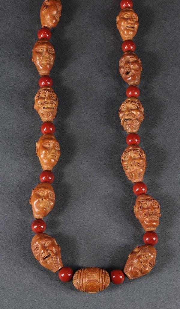 Chinese Boxwood Luohan Necklace