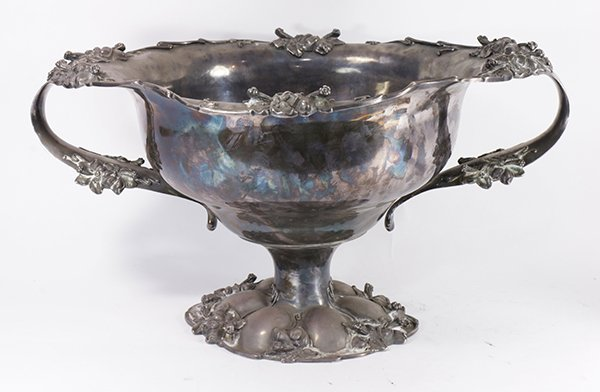American Victorian silver-plate punch bowl accented
