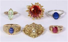 Collection of synthetic gem and gold jewelry