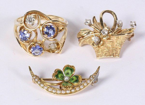 Collection of gem and 14k yellow gold jewelry