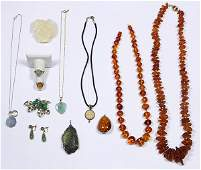 Collection of amber gem gold silver and metal