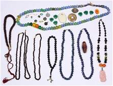 Collection of bead necklaces and miscellaneous jewelry