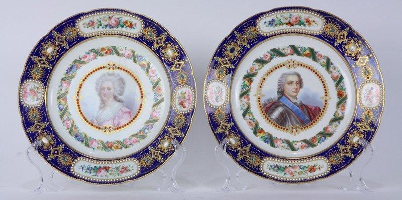 Pair of Sevres portrait cabinet plates