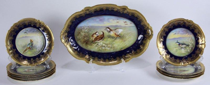 (Lot of 10) Sevres handpainted porcelain game service,
