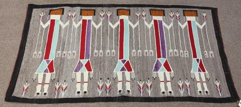 "Navajo Yei pictorial rug, 39"" x 64"""