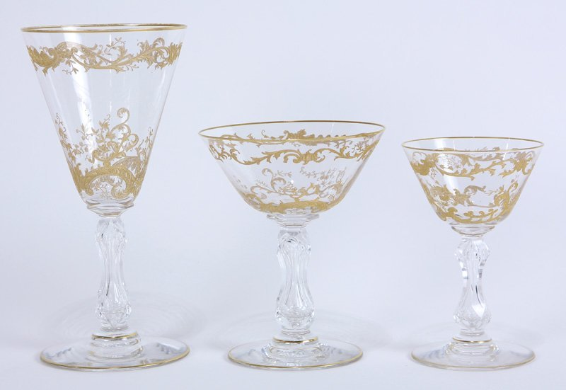 (lot of 24) St. Louis crystal stemware group in the