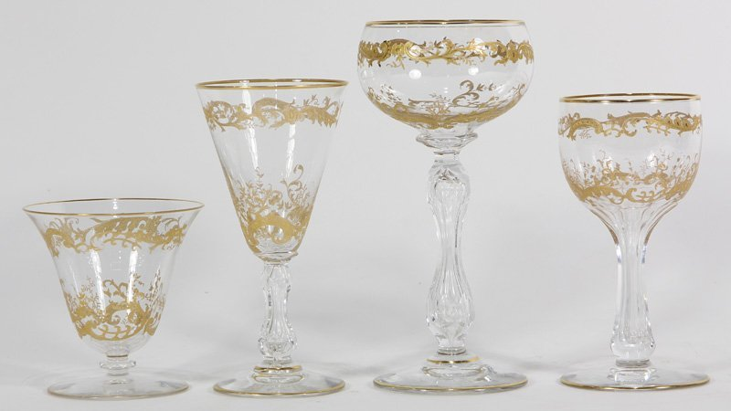 (lot of 33) St. Louis crystal stemware group in the