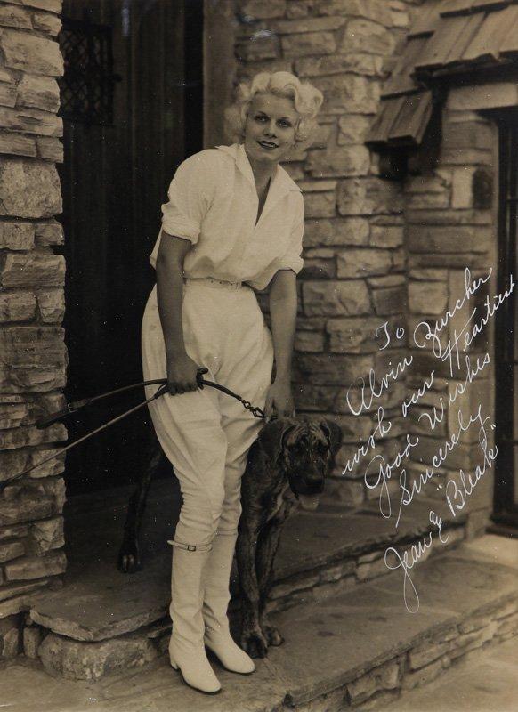 Jean Harlow inscribed photograph to Alvin Zurcher