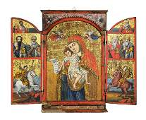 Greek Russian Orthodox triptych icon, Late 18th / Early