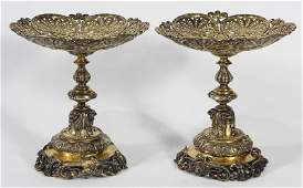 Pair of Victorian English sterling silver-gilt