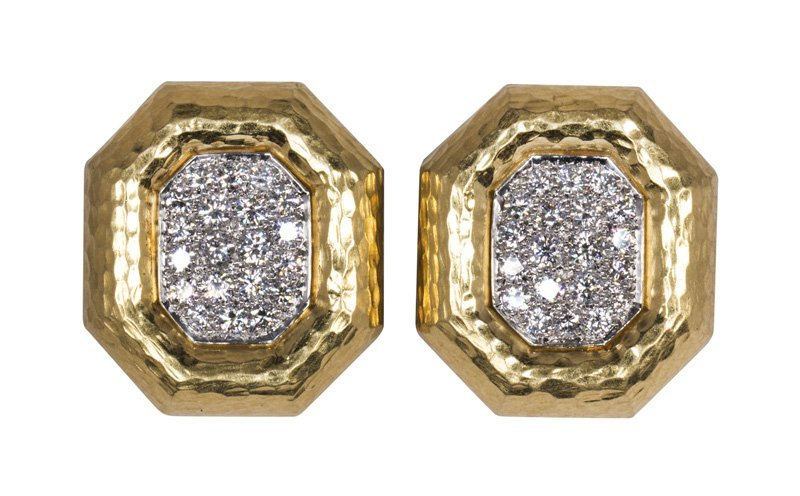 Pair of Andrew Clunn diamond and 18k gold earrings