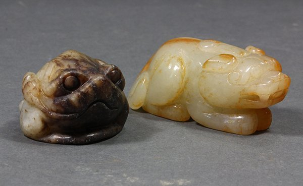 Two Chinese Carvings of Zoomorphs