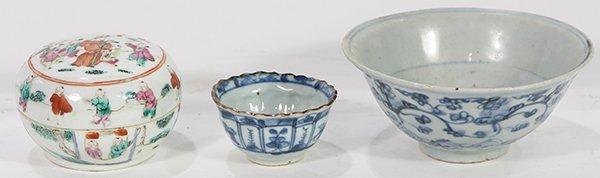 Chinese Porcelain Bowl, Cup and Box