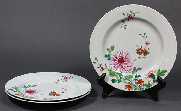 Three Chinese Porcelain Plates, Peonies