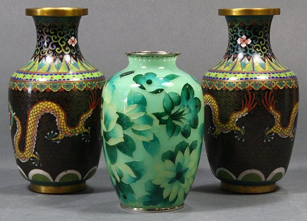 Chinese Cloisonne Vases/Japanese pique-