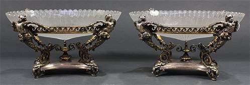 Pair of English Victorian style silver-plate